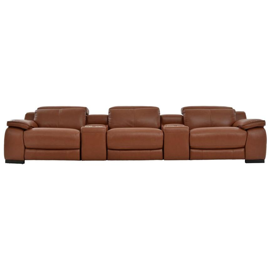 Gian Marco Tan Home Theater Leather Seating  main image, 1 of 10 images.