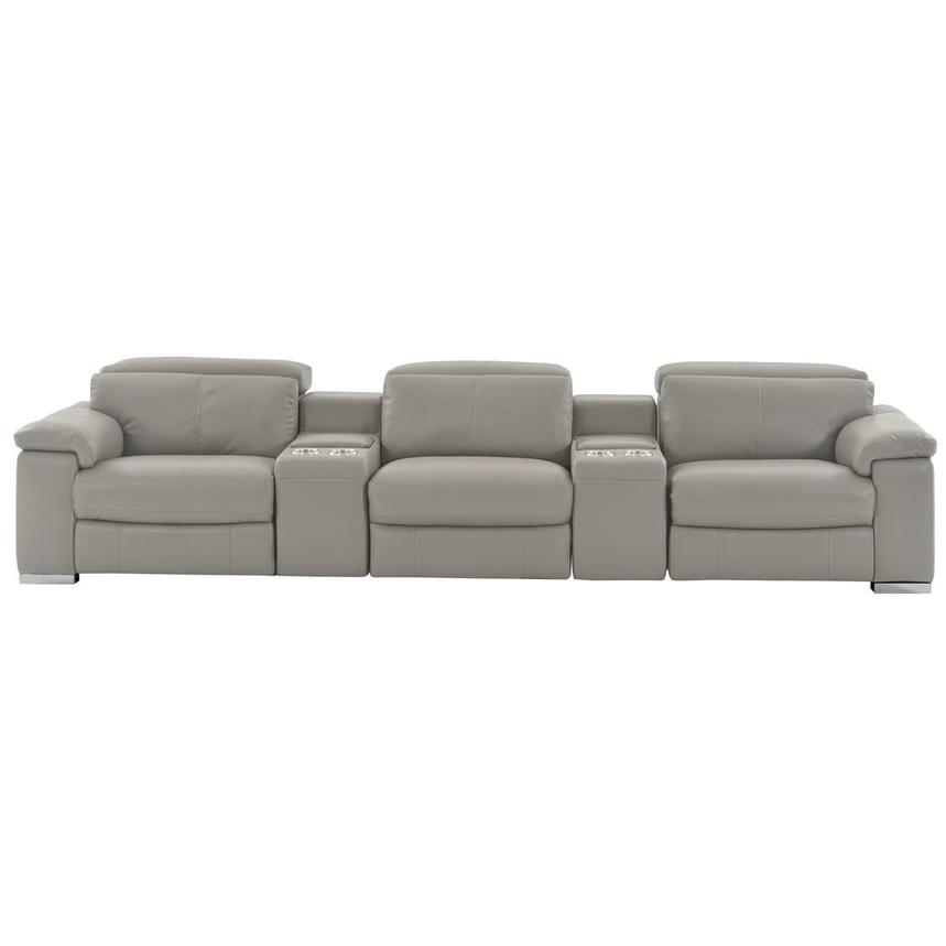 Charlie Light Gray Home Theater Leather Seating  main image, 1 of 10 images.
