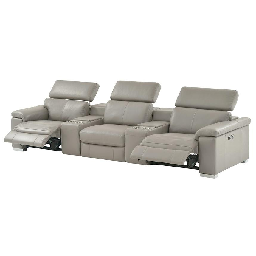 Charlie Light Gray Home Theater Leather Seating  alternate image, 3 of 11 images.