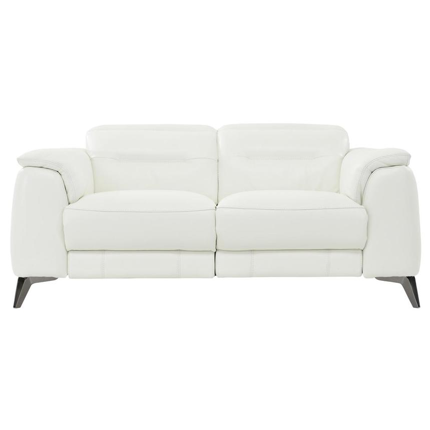 Anabel White Power Motion Leather Loveseat  main image, 1 of 8 images.