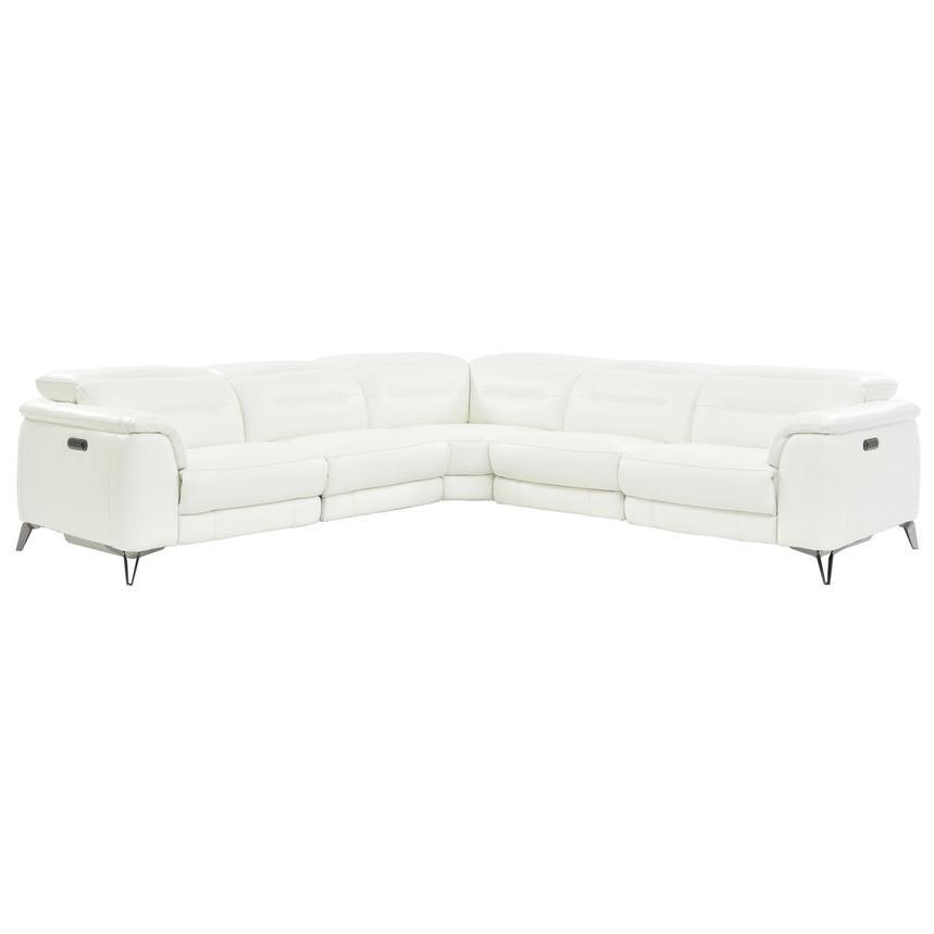 Anabel White Leather Power Reclining Sectional  main image, 1 of 7 images.