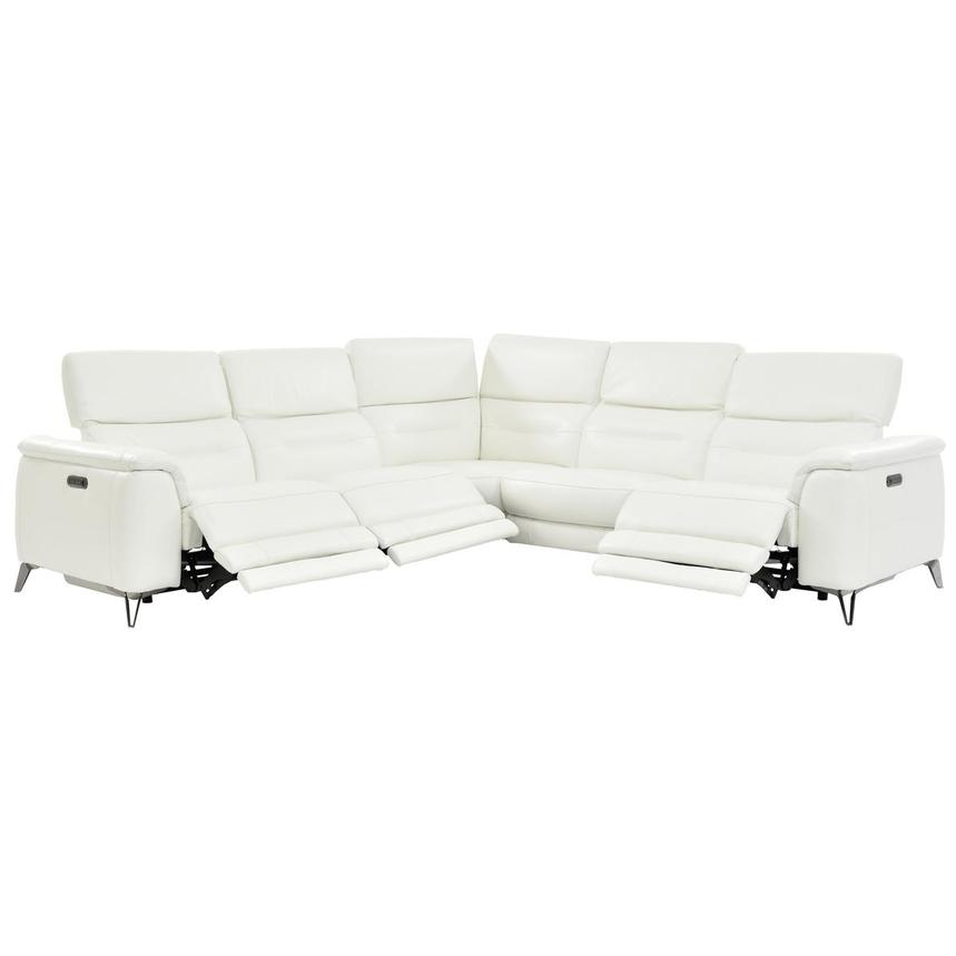 Anabel White Power Motion Leather Sofa w/Right & Left Recliners  alternate image, 2 of 7 images.