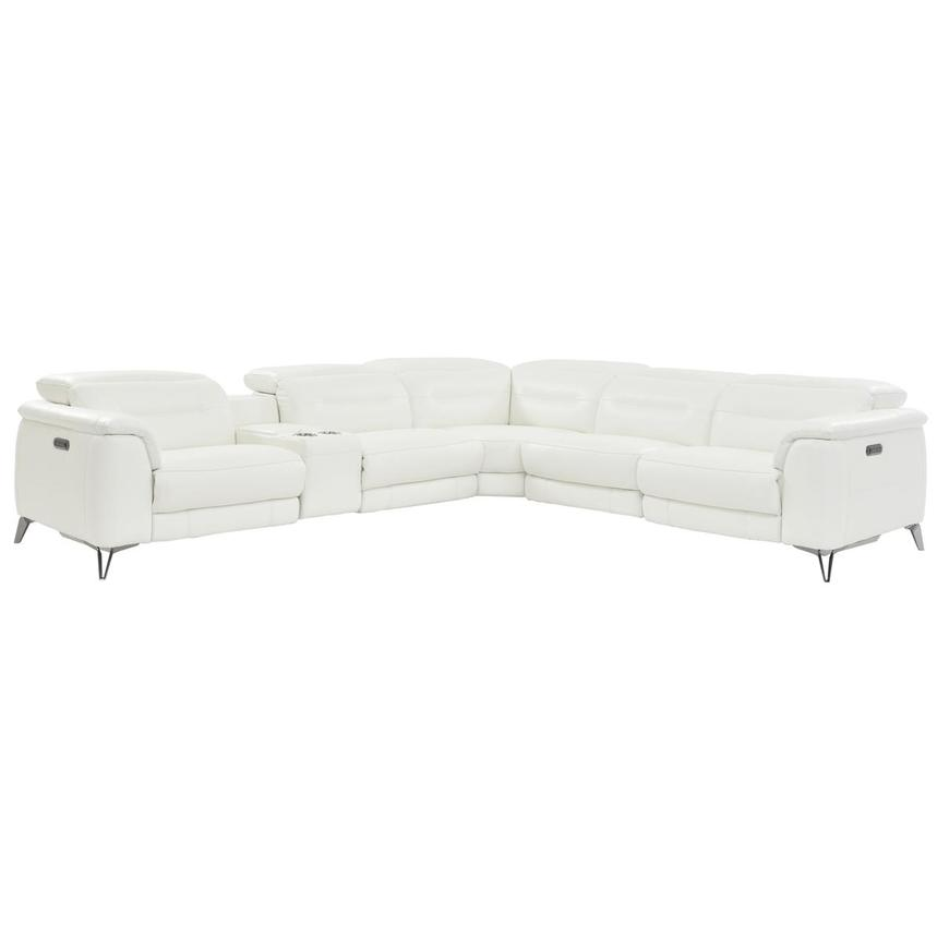 Anabel White Leather Power Reclining Sectional  main image, 1 of 8 images.