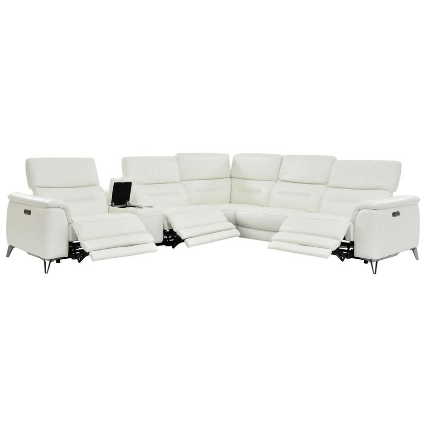 Anabel White Power Motion Leather Sofa w/Right & Left Recliners  alternate image, 2 of 8 images.