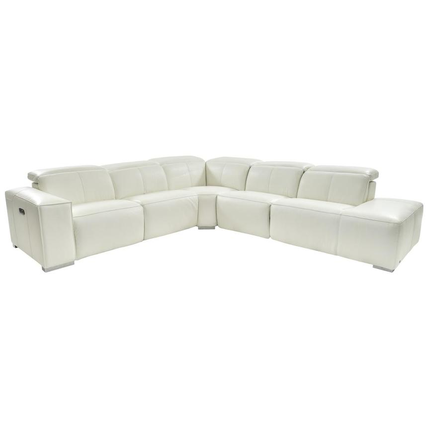 Michelle White Power Motion Leather Sofa w/Right Chaise  main image, 1 of 6 images.