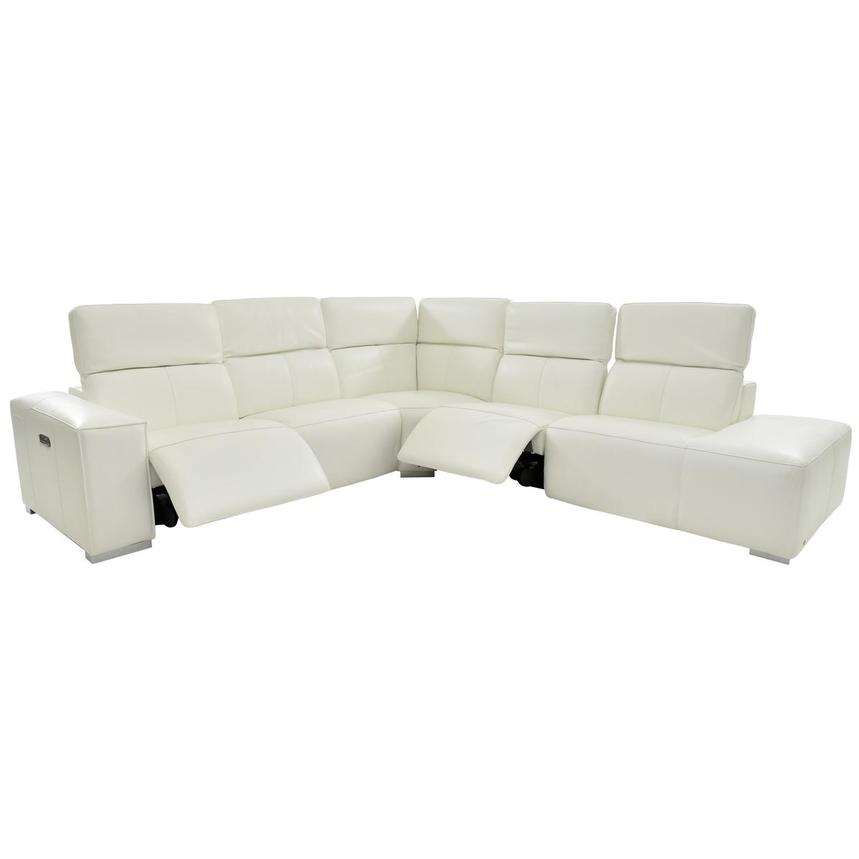 Michelle White Power Motion Leather Sofa w/Right Chaise  alternate image, 2 of 6 images.