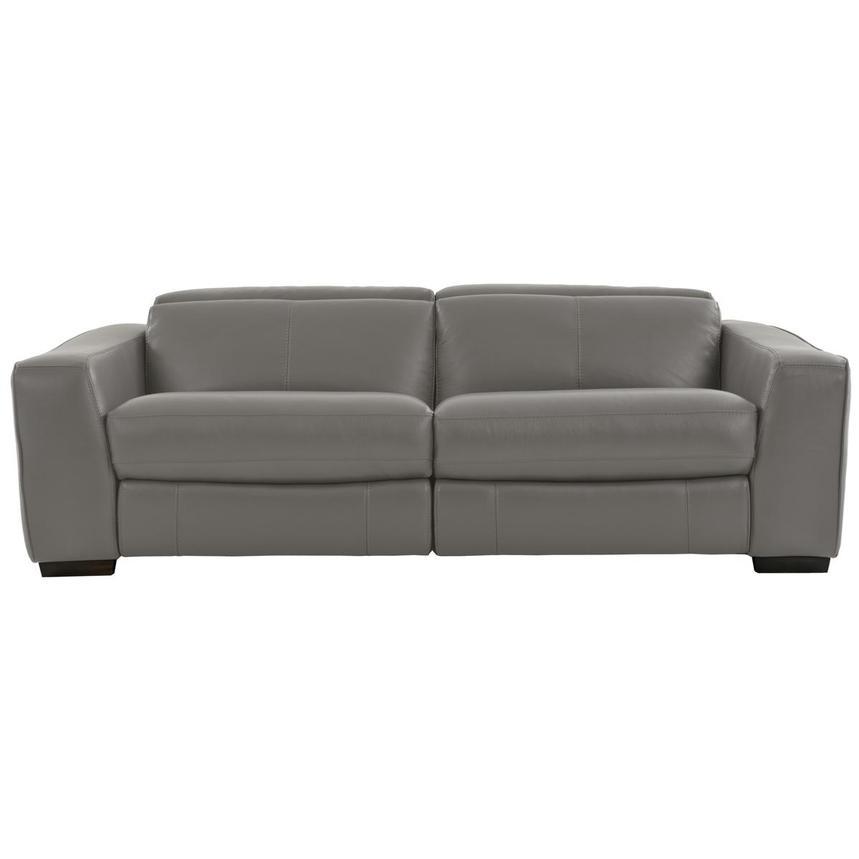 Jay Gray Leather Power Reclining Sofa