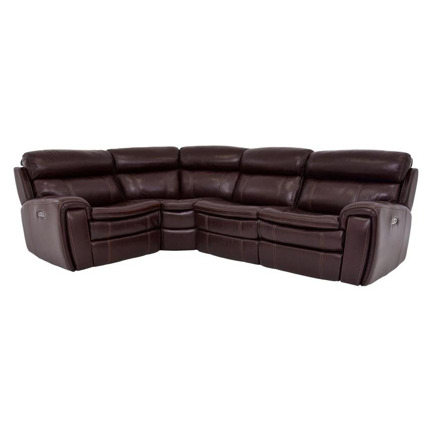 Napa Burgundy Leather Power Reclining Sectional  main image, 1 of 6 images.