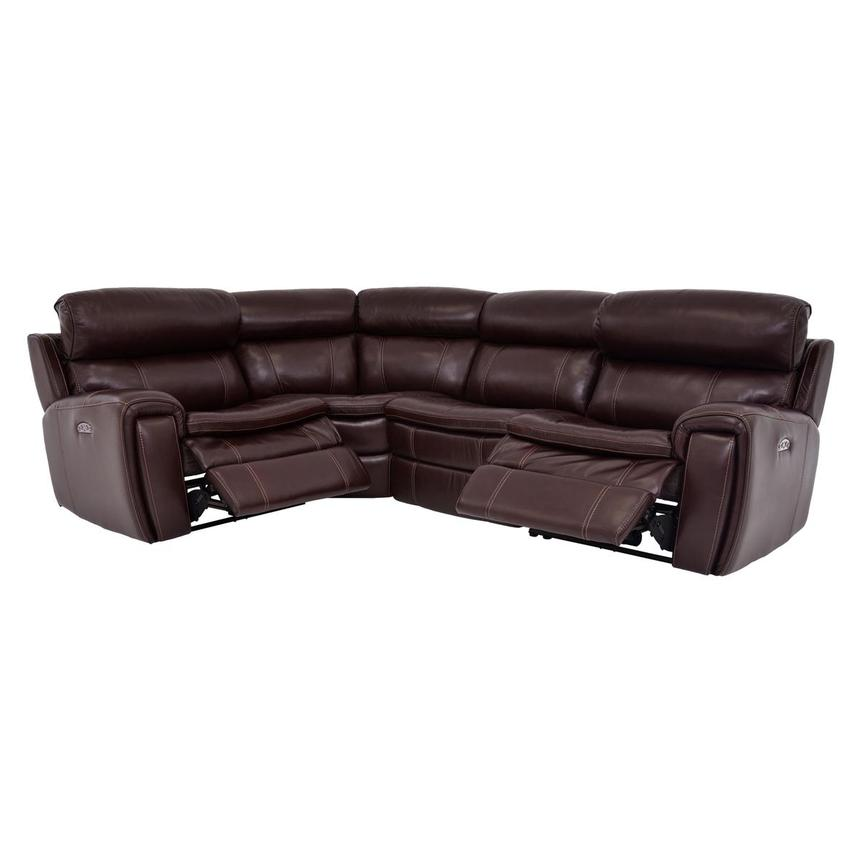 Napa Burgundy Power Motion Leather Sofa w/Right & Left Recliners  alternate image, 2 of 6 images.