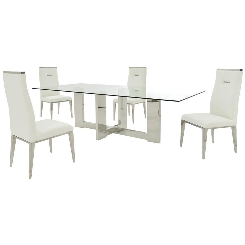 Opus/Hyde White 5-Piece Formal Dining Set  main image, 1 of 11 images.