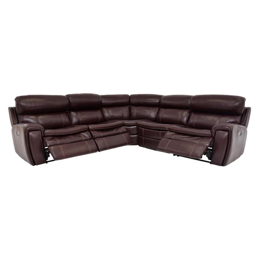 Napa Burgundy Leather Power Reclining Sectional  alternate image, 2 of 8 images.