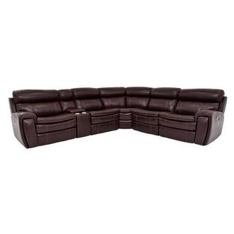 Napa Burgundy Leather Power Reclining Sectional