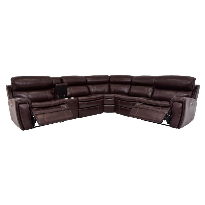Napa Burgundy Leather Power Reclining Sectional  alternate image, 2 of 9 images.