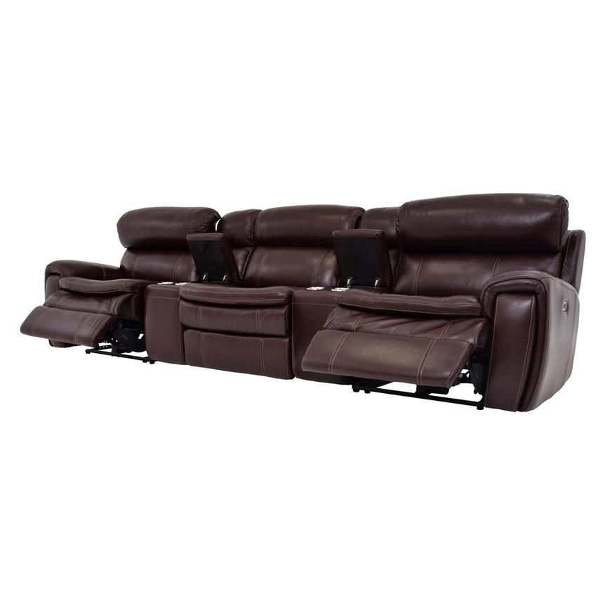 Napa Burgundy Home Theater Leather Seating  alternate image, 3 of 10 images.