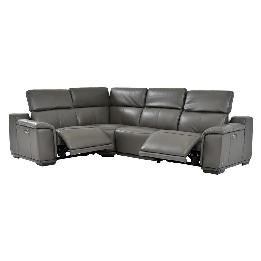 Davis 2.0 Gray Power Motion Leather Sofa w/Right & Left Recliners  alternate image, 2 of 6 images.