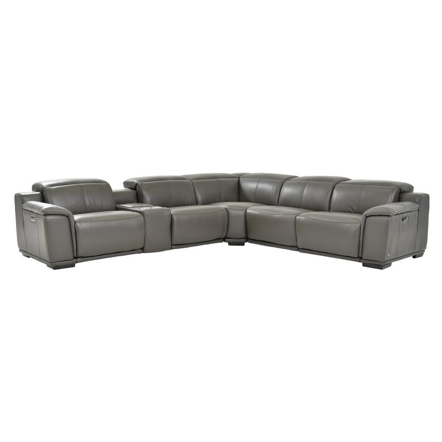 Davis 2.0 Dark Gray Leather Power Reclining Sectional  main image, 1 of 9 images.
