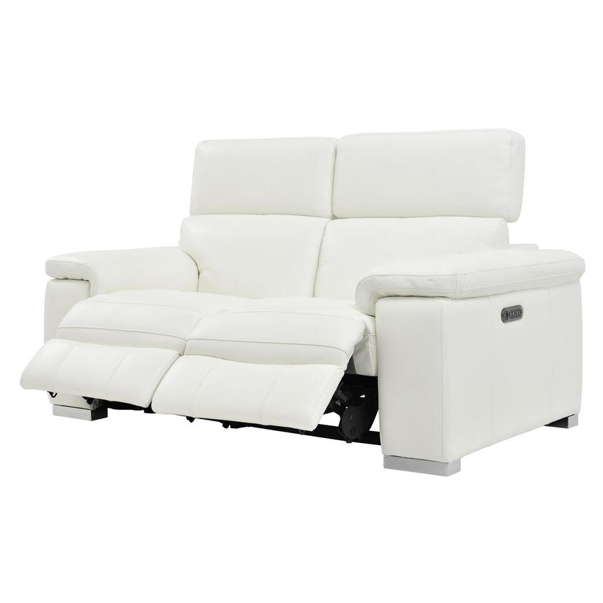 Charlie White Leather Power Reclining Loveseat  alternate image, 5 of 10 images.