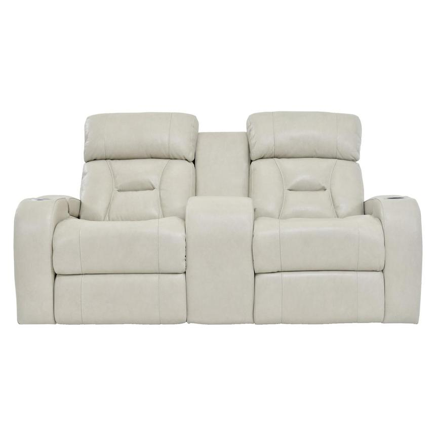 Gio Cream Leather Power Reclining Sofa w/Console  main image, 1 of 11 images.