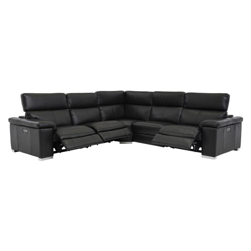 Charlie Black Power Motion Leather Sofa w/Right & Left Recliners  alternate image, 2 of 7 images.
