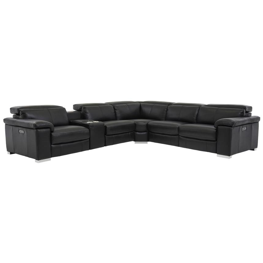 Charlie Black Power Motion Leather Sofa w/Right & Left Recliners  main image, 1 of 8 images.