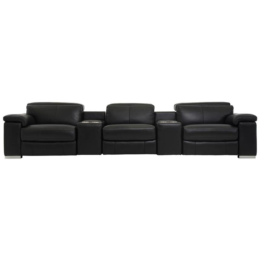 Charlie Black Home Theater Leather Seating  main image, 1 of 9 images.