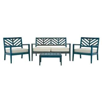 Nassau Blue 4-Piece Patio Set Made in Brazil