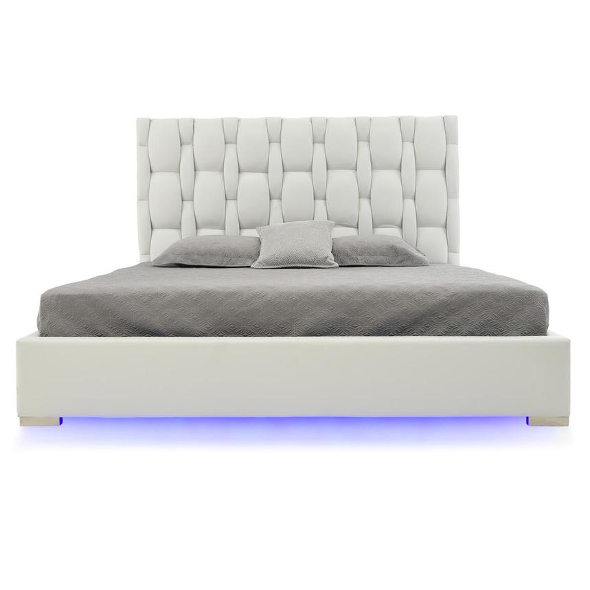 Livia White King Platform Bed