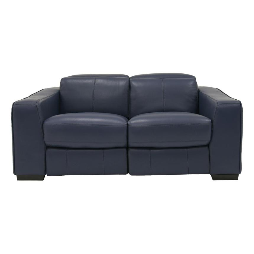 Swell Jay Blue Leather Power Reclining Loveseat Machost Co Dining Chair Design Ideas Machostcouk
