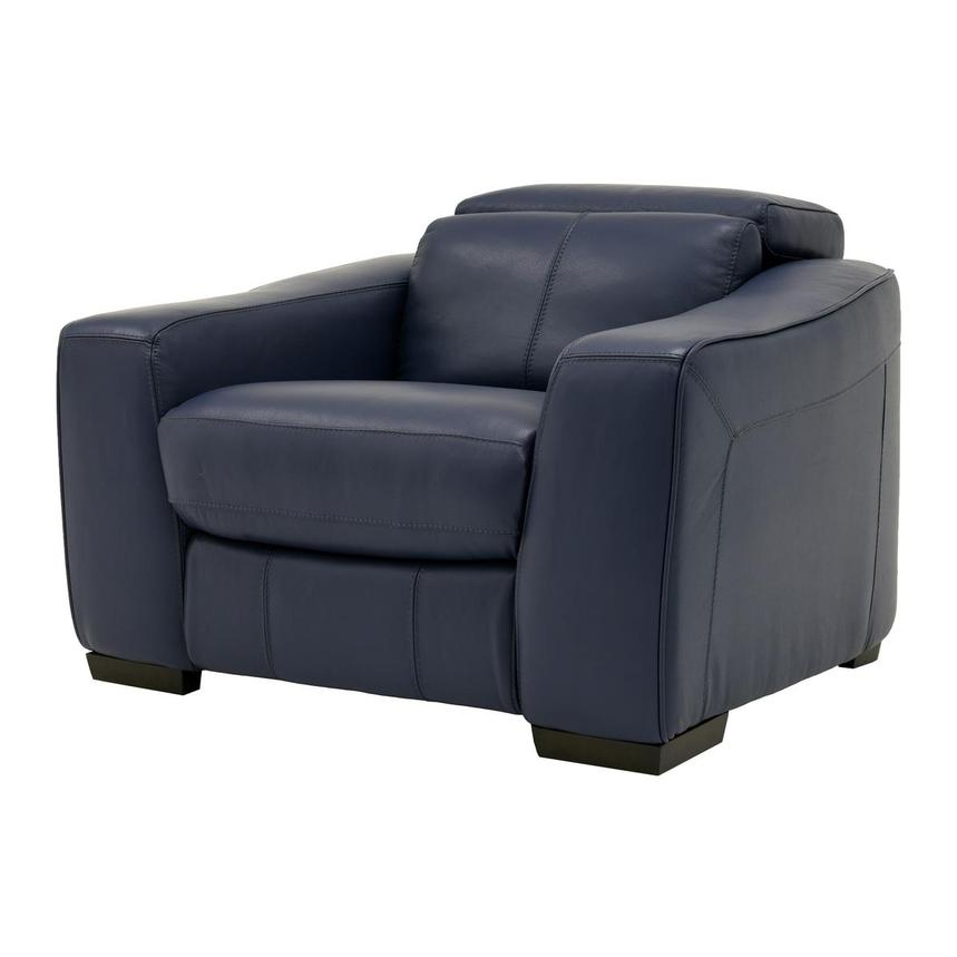Jay Blue Leather Power Recliner  alternate image, 2 of 9 images.