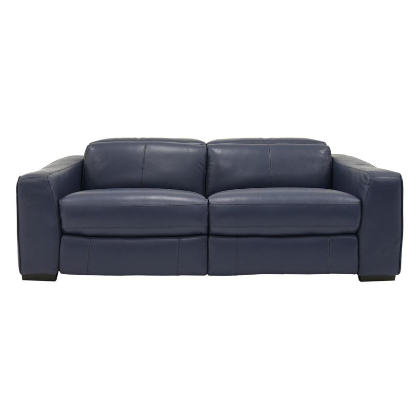 Jay Blue Leather Power Reclining Sofa  main image, 1 of 7 images.