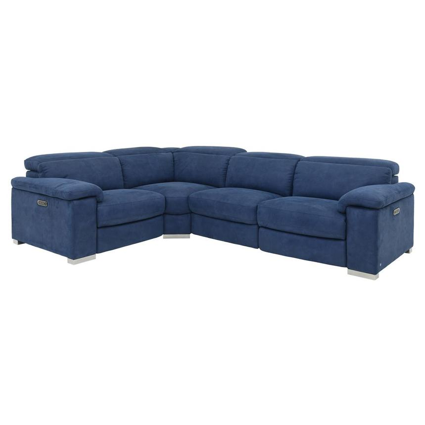 Karly Blue Power Motion Sofa w/Right & Left Recliners  main image, 1 of 7 images.