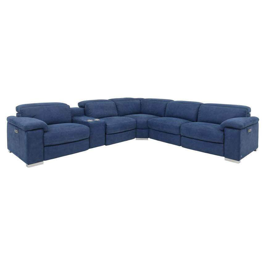 Karly Blue Power Motion Sofa w/Right & Left Recliners  main image, 1 of 8 images.