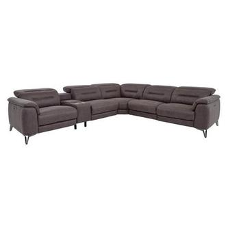 Claribel II Gray Power Motion Sofa w/Right & Left Recliners