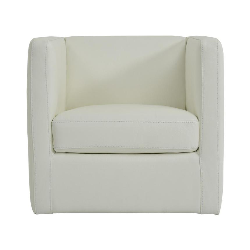 Cute White Leather Swivel Chair  main image, 1 of 5 images.