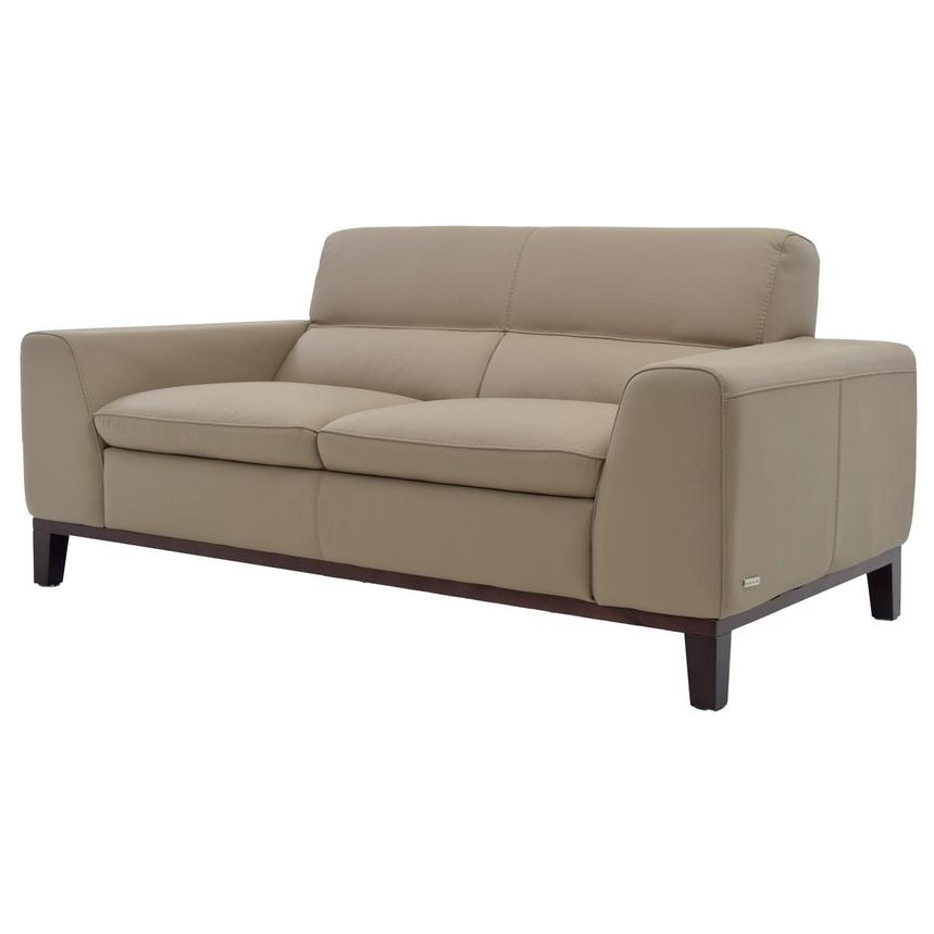 Milani Tan Leather Loveseat  alternate image, 2 of 8 images.