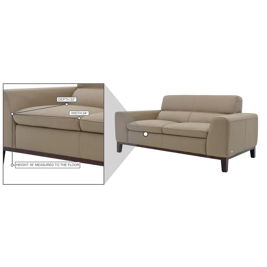 Milani Tan Leather Loveseat  alternate image, 7 of 8 images.