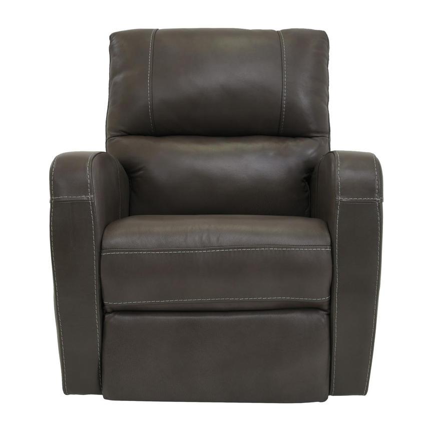 Keegan Gray Leather Power Recliner El Dorado Furniture