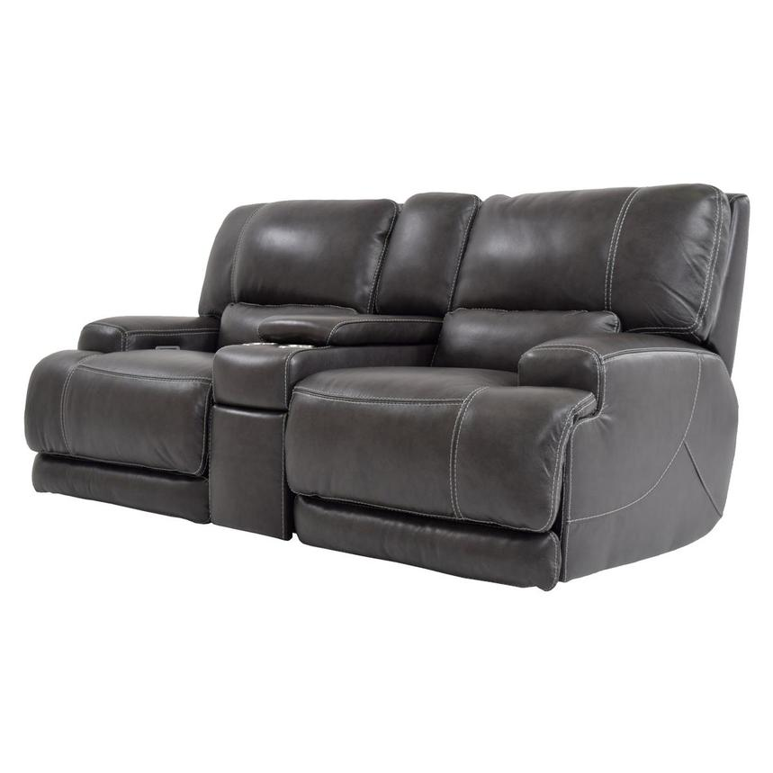 Cody Gray Power Motion Leather Loveseat w/Console  alternate image, 2 of 11 images.