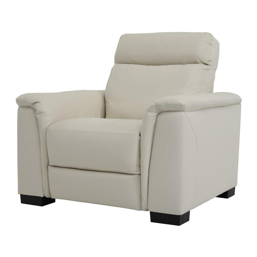 Bari Cream Power Motion Leather Recliner  alternate image, 2 of 7 images.