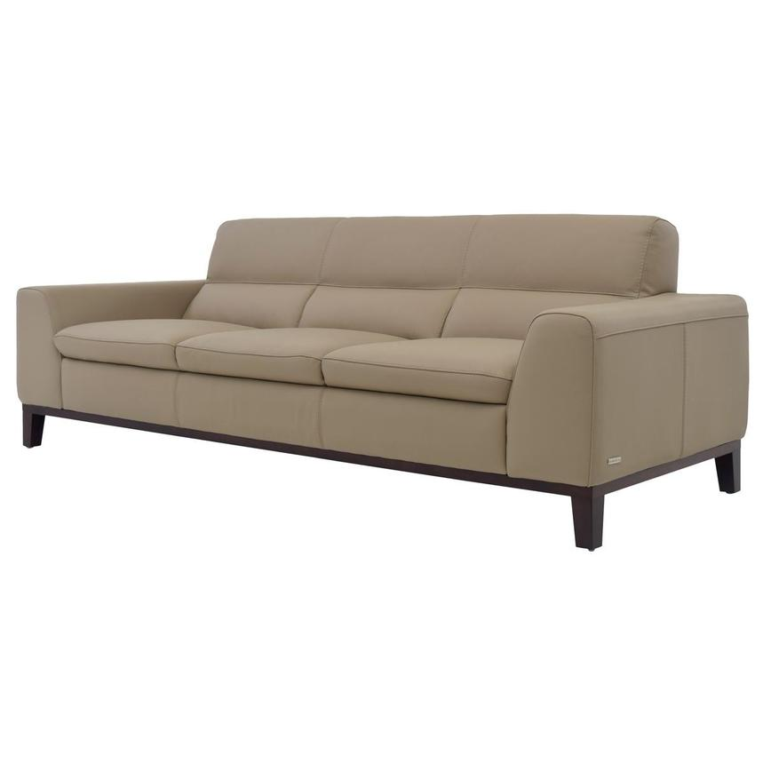 Milani Tan Leather Sofa  alternate image, 2 of 8 images.