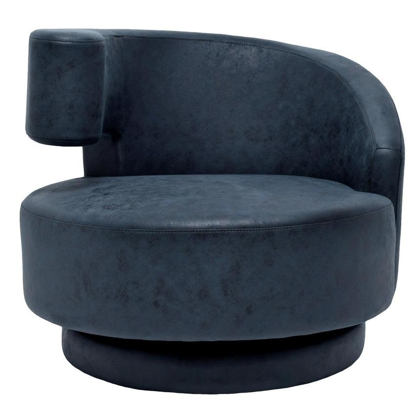 Okru Dark Blue Swivel Chair w/2 Pillows  alternate image, 2 of 10 images.