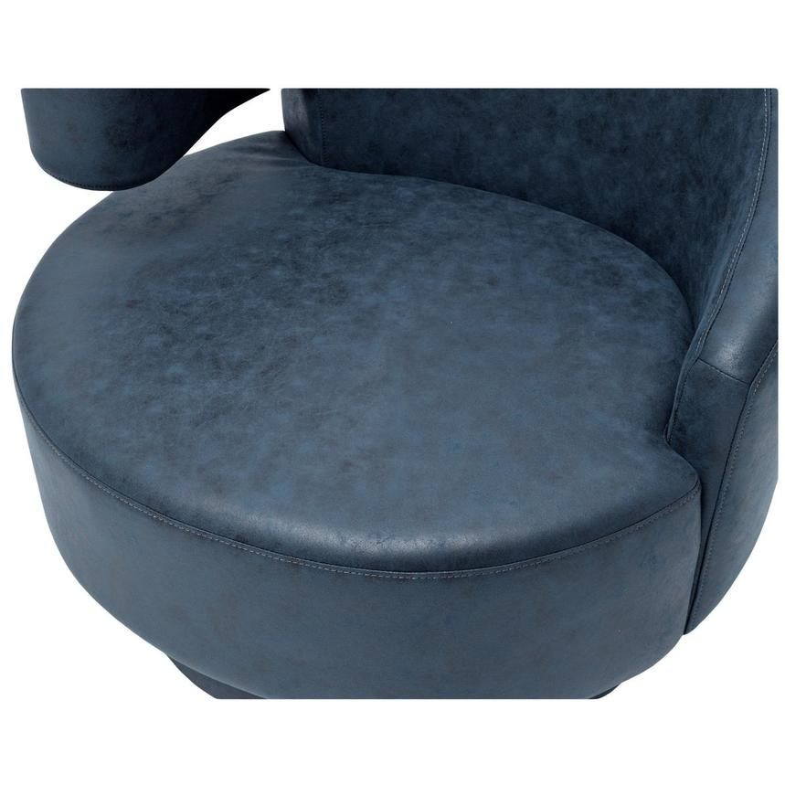 Okru Dark Blue Swivel Chair w/2 Pillows  alternate image, 7 of 10 images.