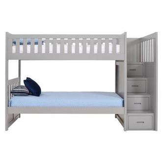Balto Gray Twin Over Twin Bunk Bed w/Storage