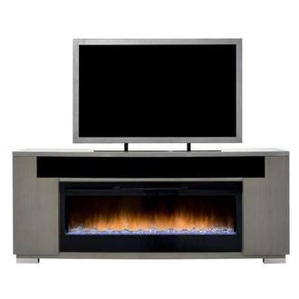 Mile Gray Faux Fireplace w/Speakers