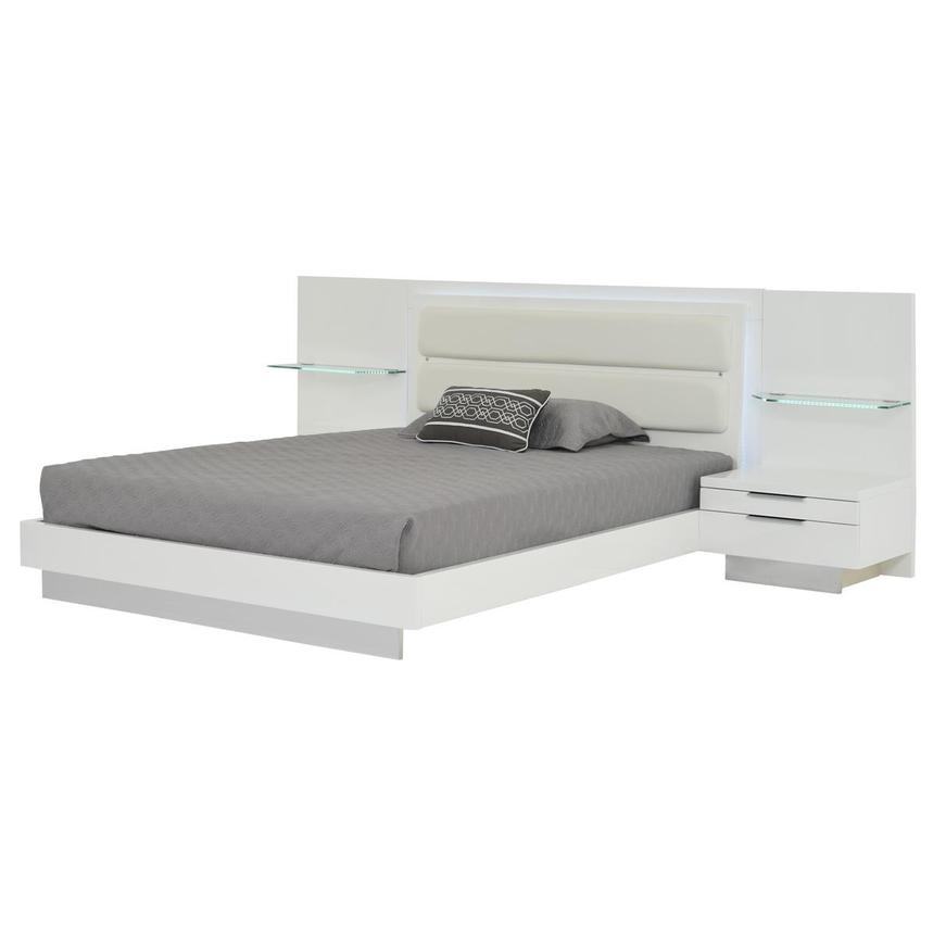 Ally White King Platform Bed w/Nightstands  alternate image, 2 of 16 images.