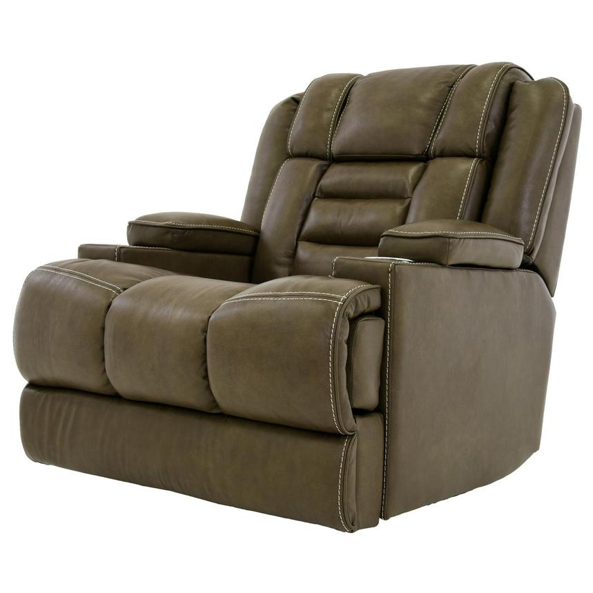 Damon Brown Power Motion Leather Recliner  alternate image, 2 of 10 images.