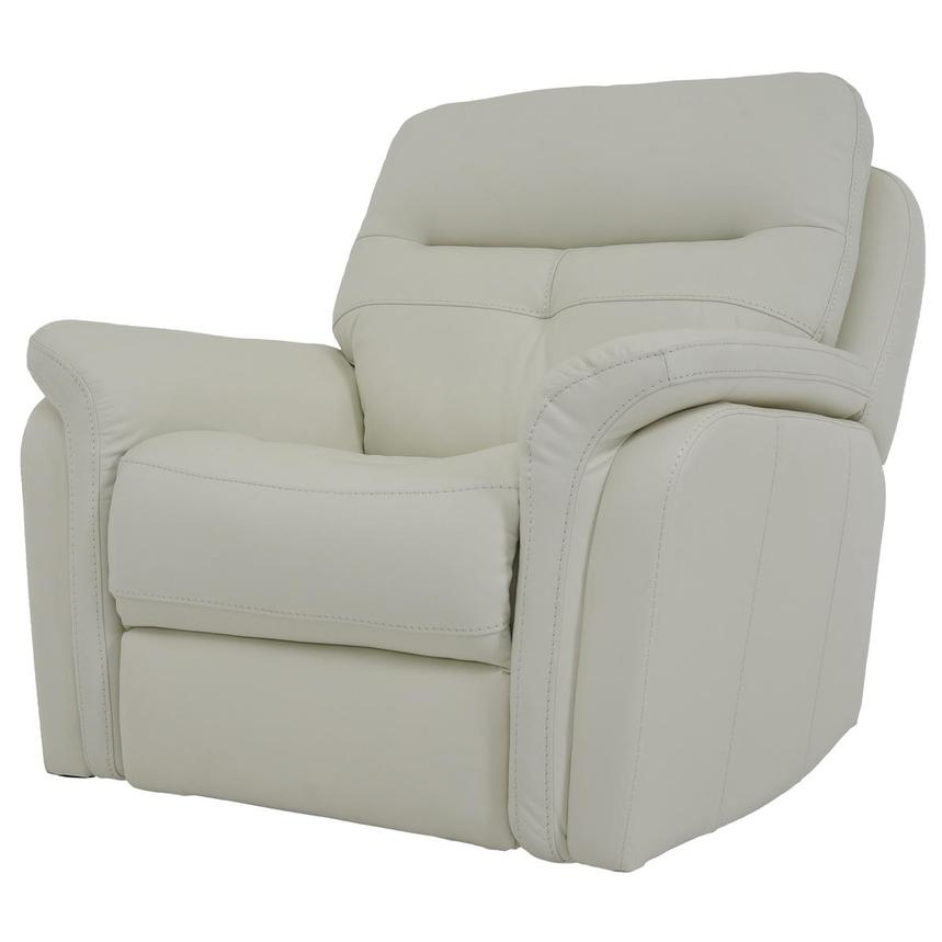 Zane Cream Power Motion Leather Recliner  alternate image, 2 of 9 images.