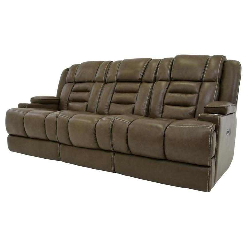 Damon Brown Leather Power Reclining Sofa  alternate image, 2 of 11 images.