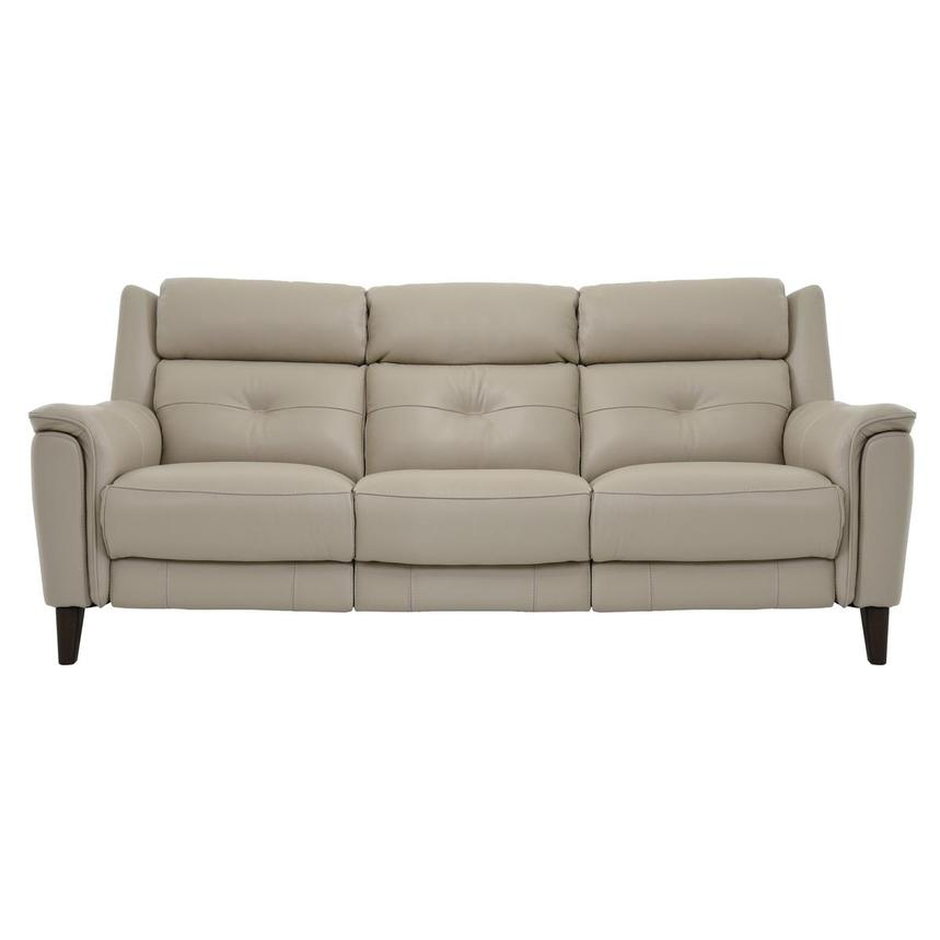 Mayte Cream Power Motion Leather Sofa  main image, 1 of 7 images.