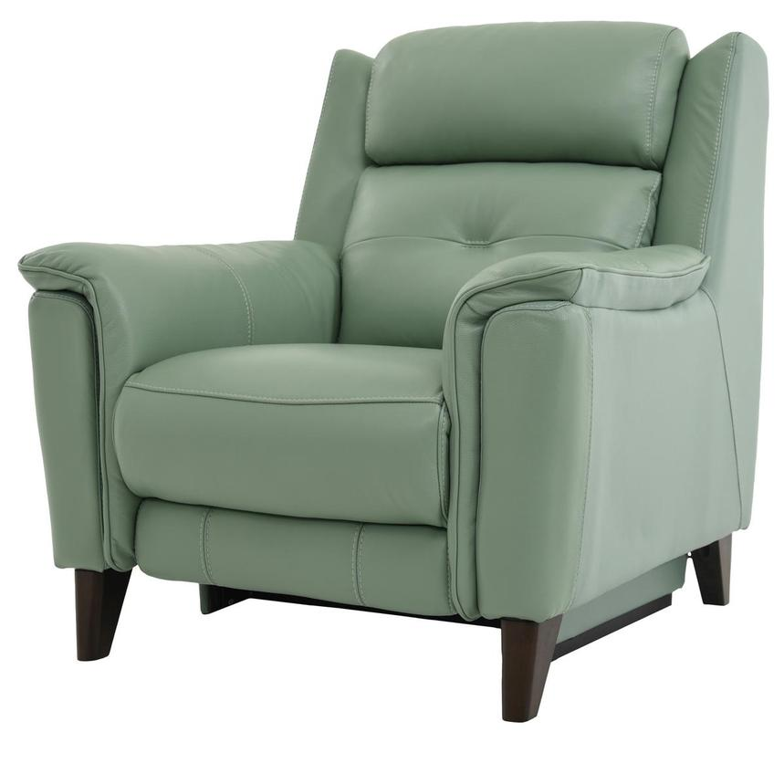 Mayte Green Power Motion Leather Recliner  alternate image, 2 of 8 images.